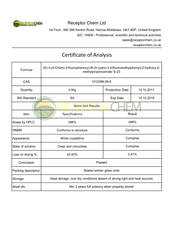 S-23 - Receptor Chem - Buy S23 UK EU USA | 99% Pure SARMs